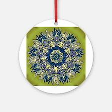 CANNABIS LEAF III BLUE/GR Ornament (Round)