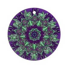 CANNABIS Leaf III PUR/GRN Ornament (Round)