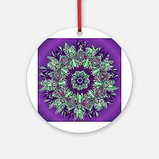 CANNABIS Leaf III PUR/GRN Ornament (Round)