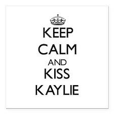 "Keep Calm and kiss Kaylie Square Car Magnet 3"" x 3"