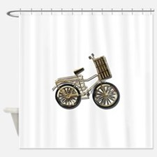 GoldenBicycleBasket081311.png Shower Curtain