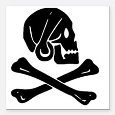 """Henry Every Jolly Roger: Square Car Magnet 3"""" x 3"""""""