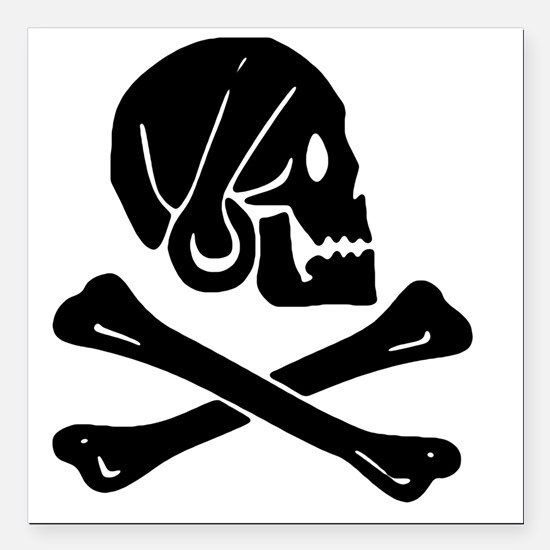 "Henry Every Jolly Roger: Square Car Magnet 3"" x 3"""