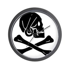 Henry Every Jolly Roger:Pirate Flag Bla Wall Clock