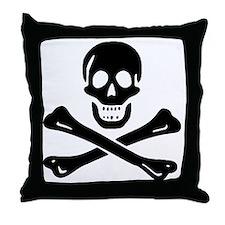 Black Sam Bellamy Jolly Roger:Pirate  Throw Pillow