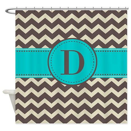 Brown Blue Monogram Shower Curtain