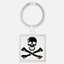 Pixel Skull Square Keychain