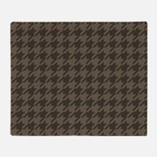 Brown Tones Houndstooth Pattern Throw Blanket