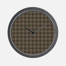 Brown Tones Houndstooth Pattern Wall Clock