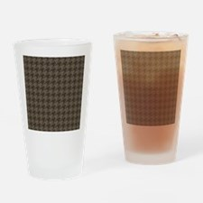 Brown Tones Houndstooth Pattern Drinking Glass