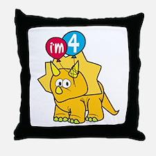 """I'm 4"" Dinosaur Throw Pillow"