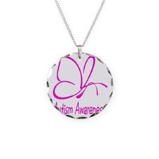 Autism Awareness Butterfly P Necklace Circle Charm