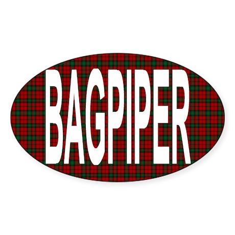 Bagpiper Oval Sticker
