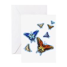 Butterflies in flight right (transparent) Greeting