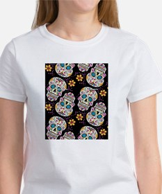Day of The Dead Sugar Skull  Black Tee