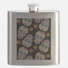 Day of The Dead Sugar Skull  Black Flask