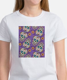 Day of The Dead Sugar Skull Purple Tee