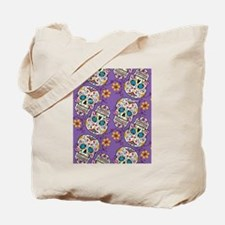 Day of The Dead Sugar Skull Purple Tote Bag