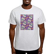 Day of The Dead Sugar Skull Purple T-Shirt