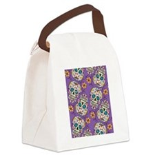 Day of The Dead Sugar Skull Purpl Canvas Lunch Bag