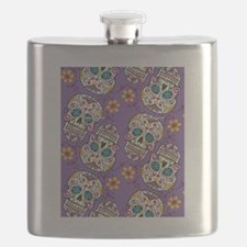 Day of The Dead Sugar Skull Purple Flask