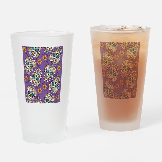 Day of The Dead Sugar Skull Purple Drinking Glass