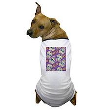 Day of The Dead Sugar Skull Purple Dog T-Shirt