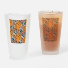Day of The Dead Sugar Skull Orange Drinking Glass