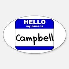 hello my name is campbell Oval Decal