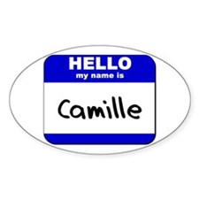 hello my name is camille Oval Decal