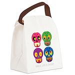 Smile life is short - Skulls Canvas Lunch Bag