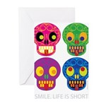 Smile life is short - Skulls Greeting Cards