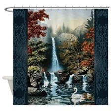 Waterfall And Swan Familiy Shower Curtain