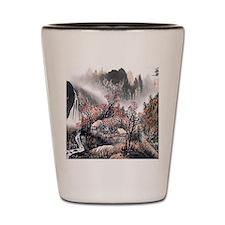 Beautiful Oriental Mountain View Shot Glass