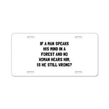 Man Forest Aluminum License Plate