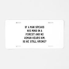 Man Forest Aluminum License Plate
