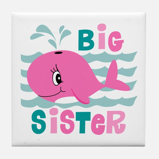 Whale Big Sister Tile Coaster