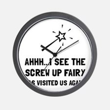 Screw Up Fairy Wall Clock