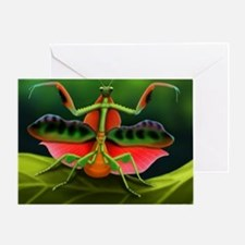 Tropical Praying Mantis on Leaf Greeting Card