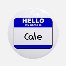 hello my name is cale  Ornament (Round)