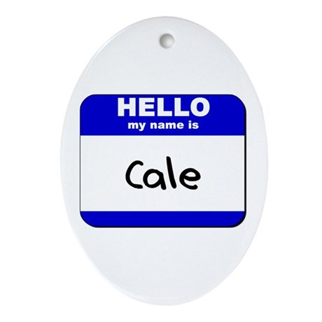 hello my name is cale Oval Ornament