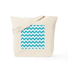Aqua and White Chevron Pattern Tote Bag