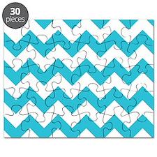 Aqua and White Chevron Pattern Puzzle