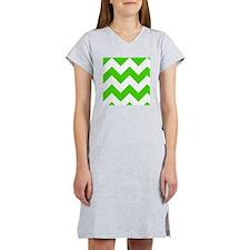 Green and White Chevron Pattern Women's Nightshirt