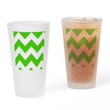 Green and White Chevron Pattern Drinking Glass