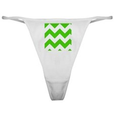 Green and White Chevron Pattern Classic Thong