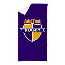 Rugby Emblem Purple Gold Prp Beach Towel