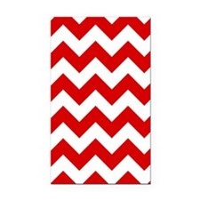 Red and White Chevron Pattern Rectangle Car Magnet