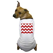 Red and White Chevron Pattern Dog T-Shirt