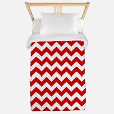 Red and White Chevron Pattern Twin Duvet